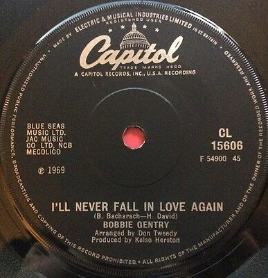 """Bobbie Gentry - I'll Never Fall In Love Again 7"""" CL 15606 (VG Condition)"""