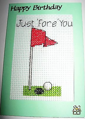 Birthday Card Completed Cross Stitch Golf Just 'Fore' You 6x4""