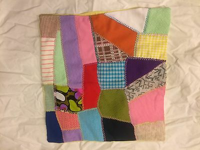 """Vintage Handmade Patchwork Pillow Cover  with feather stitching 15.5""""by 16"""""""