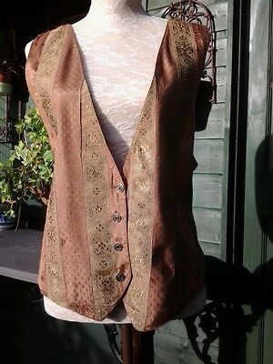 VINTAGE Phool - Toffee Brocade traditional Waistcoat size small - 12/14