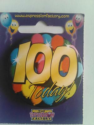 Happy 100Th Birthday Badge 100 Today Gold Round Man Male Lady Pin Clip On Card