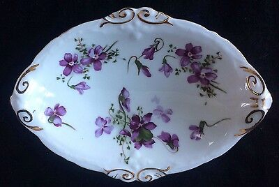 Hammersley Porcelain Victorian Violets Pattern Oval Dish,good  Condition,15.5Cm