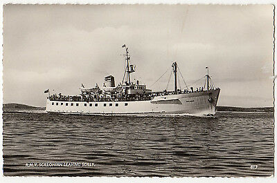 "R.m.v. ""scillonian"" Leaving Scilly ~ An Old Real Photo Postcard By F.e. Gibson,"