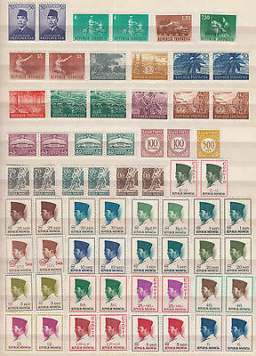 YS-B635 INDONESIA - Lot, Singles and Pairs Old Stamps MNH