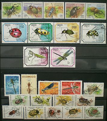 YS-C098 BUGS - Insects, Romania, Poland, Cambodia, Lot Of Stamps Used