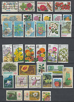 YS-D321 FLOWERS - Cactus, Trees, Fine Lot Of Usa Stamps Used