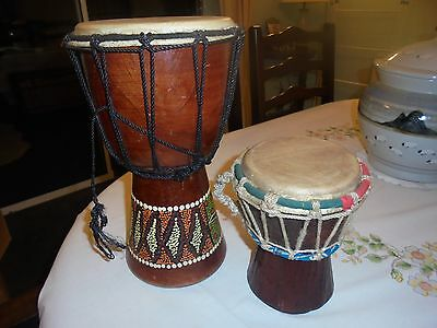 Handpainted musical instrument ethnic wooden drums x 2