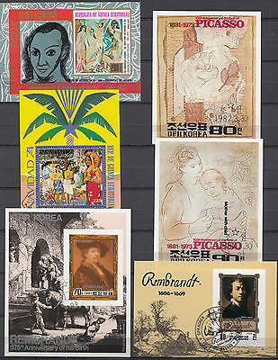 YS-E122 PAINTINGS - Eq. Guinea, Korea, Rembrandt, Picasso Great Lot Used