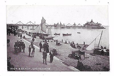 Nicely Animated Printed Postcard Of Pier And Beach Eastbourne Sussex