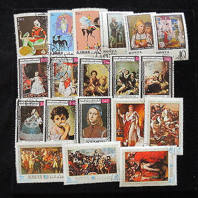 YS-E721 PAINTINGS - South Arabia, Yemen, Ajman, Religion Great Stamps Used