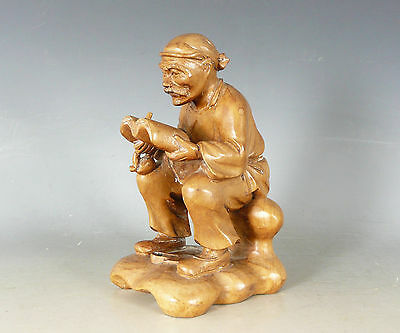 Chinese Carved Wood Figure Scholar E20Thc