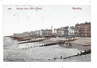 Nice Printed Postcard Of Parade From The Pier Worthing Sussex Posted 1906