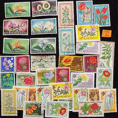YS-G207 FLOWERS - Indonesia, Romania, Switzerland, Greece, Used MH