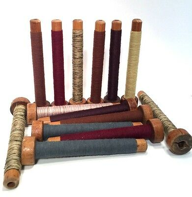 Threaded Textile Bobbins Spools Spindles Quills Vintage Primitive Wooden lot-14
