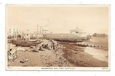 Nice Printed Postcard Of Bandstand And Pier Worthing Sussex Posted 1953