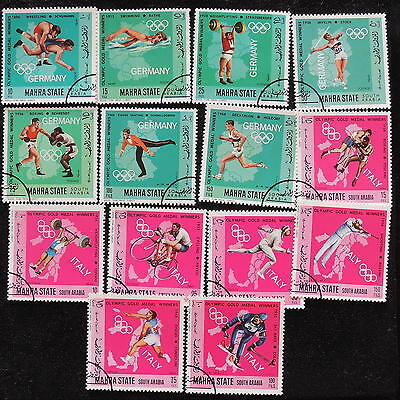 YS-G843 OLYMPIC GAMES - Mahra State, Italy 1960, Germany 1972 Used