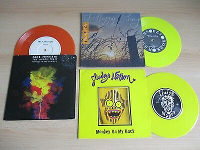 "3 X Rare 7"" Colored Vinyl – Fake Problems/sludge Nation/ Aliens - Indie / Grunge"