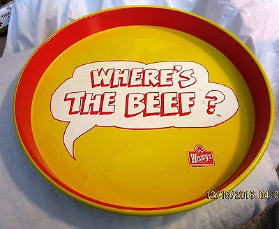 "Vintage 1984 Wendy's ""Where's the Beef?"" 14"" Round Tin Serving Tray Nice!"