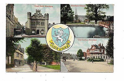 Nice Printed Multi-View Postcard Of Horsham Sussex Posted 1901