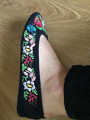 Office Floral Embroidered Flats Ballerina Pumps 40 7 Embroidery