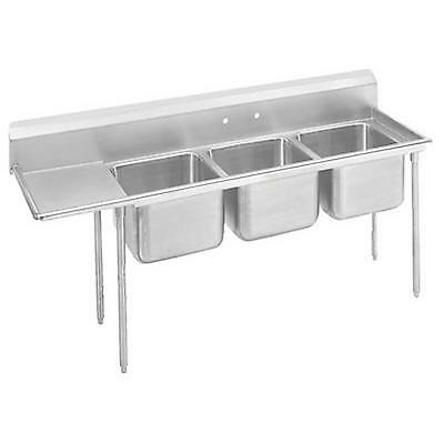"Advance Tabco 3 Compartment Sink 18 Gauge 20""x20"" Bowls S/s 18"" Drainboard"