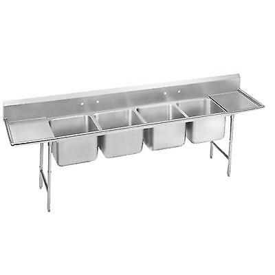 "Advance Tabco 4 Comp Sink 18 Gauge 16""x20"" Bowls S/s Two 18"" Drainboards"