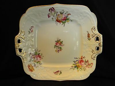 ANTIQUE COALPORT (WILLIAM WHITLEY) DBL HANDLED SQUARE PLATE - pre 1920