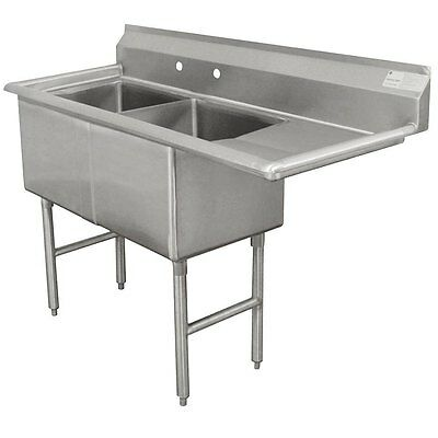 """Advance Tabco 2 Compartment Sink 24""""x24""""x14"""" Bowls S/s 18"""" Drainboard"""