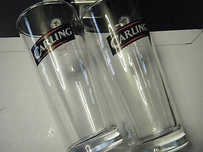 2 x Carling 1/2 pint Lager Glasses