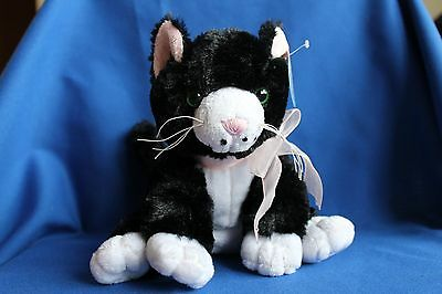 Cute Black And White Kitten Cat Soft Toy