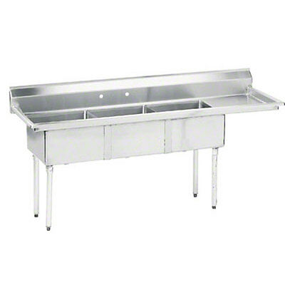 "Advance Tabco 3 Compartment Sink 18""x24""x14"" Bowl 18 Gauge 24"" Drainboard"