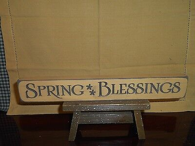 """SPRING BLESSINGS   Engraved Wood Block Sign  Distressed Pastel Yellow 12"""" L"""