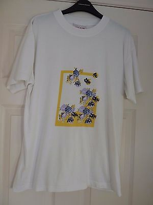 Ladies White Print Front T-Shirt Fits Size 16