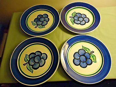 4 Stangl Grape Lunch Plates Lot (8 ¼ Inches Wide)