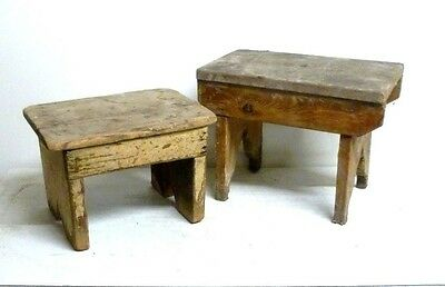 Antique/Vintage Pair of Rustic Wooden Stools