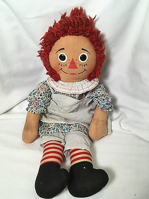 Vintage Raggedy Ann Knickerbocker I Love You doll with button eyes 20 inches