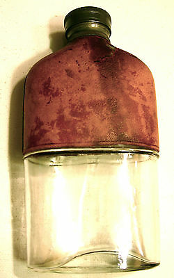 1866 Patented Glass Flask with Leather Upper Covering