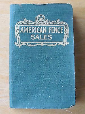 Rare 1905 Salesman Order Booklet - American Fence American Steel & Wire Co