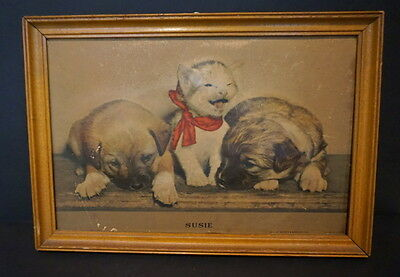 Vintage 1940's SUSIE Kitten Puppies 3D Puffed Framed Print Cats Dogs