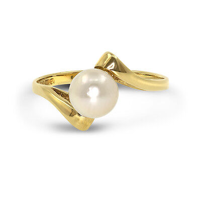 [See Video] 9 CT Yellow Gold Pearl Set Crossover Dress Ring Size M (00312)