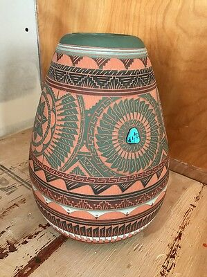 Casey Morgan Signed Navaho Etched Pottery
