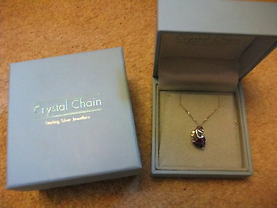 Crystal Chain Sterling Silver Necklace, NEW, Boxed