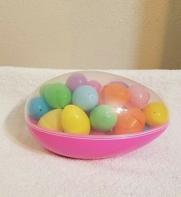 LARGE JUMBO FILLABLE EASTER EGG PLASTIC CONTAINER w/30 Eggs  *Easter Egg Hunt*
