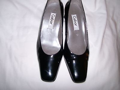 Ladies Black Gabor Patent Leather Court Shoe Size 4.5