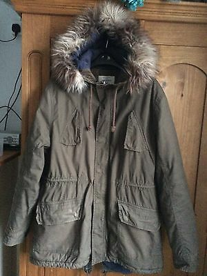 Men's Size XL Parka Coat Jacket With Fur Hood From River Island