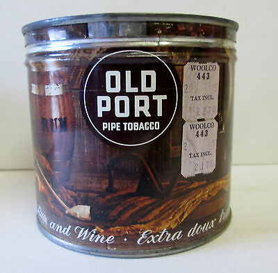 VINTAGE KEY WIND OLD PORT PIPE TOBACCO TIN  Can MELLOWED WITH RUM AND WINE