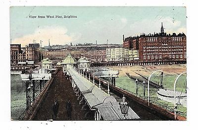 Nice Printed Postcard Of View From West Pier Brighton Sussex Posted 1906