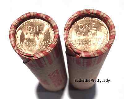 2 Shotgun Rolls Lincoln Wheat Pennies - Uncirculated Cents On End - 100 Coins