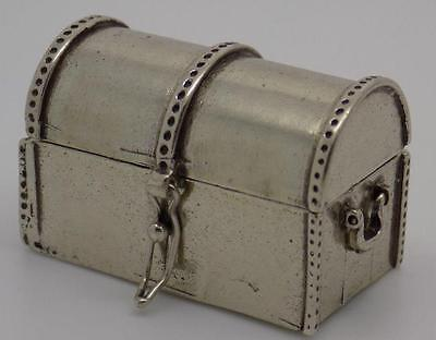 Vintage Solid Silver Trunk Box / Miniature - Stamped - Made in Italy