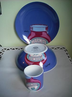 Marmite Advertising Promotion- 3 Piece Breakfast Set Plate /cereal Bowl/egg Cup
